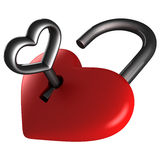 Heart lock. With silver key Royalty Free Stock Image