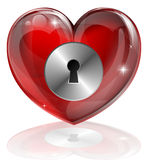 Heart lock. Illustration of a heart shaped lock with keyhole. Concept for loneliness, unlocking love, being guarded, health related or other subjects Stock Photos