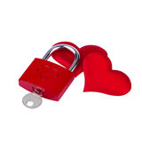 Heart lock. Love Concept, Heart lock and two red heart royalty free stock photo