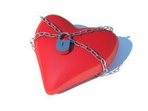 Heart on lock. Isolated white Stock Photos