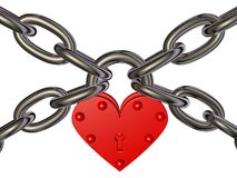 Heart - lock and chain Stock Images
