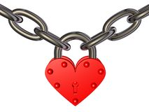 Heart - lock and chain Royalty Free Stock Photos