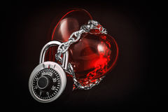 Heart in Lock and Chain Royalty Free Stock Photography