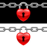 Heart lock with chain Royalty Free Stock Images