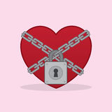 Heart Lock Chains Royalty Free Stock Photography