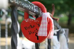 The heart of a lock on the fence Stock Images