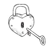 Heart Lock (Hand Drawn) Stock Photography