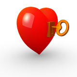 Heart with a lock and a key Stock Images