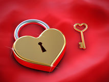 Heart lock and key Royalty Free Stock Photography