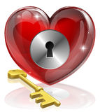 Heart lock and key. Concept illustration, could be symbol for finding love or repressing feelings or being guarded Royalty Free Stock Images