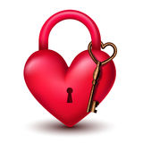 Heart lock with key Royalty Free Stock Images