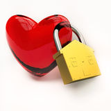 Heart with lock symbol Stock Photos