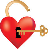 Heart Locked. Heart shaped like a lock with a key Stock Photography