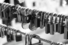 Heart locks. Lover padlocks on bridge in Ljubljana Stock Image