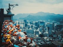 Heart locks Seoul Tower royalty free stock photo