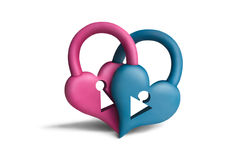 Heart-locks2 Stock Images