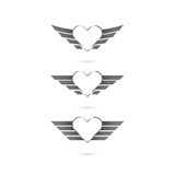 Heart logo with angel wings on background.Vector illustration. Stock Photography