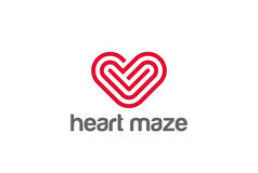 Heart Logo design. Valentine day love symbol. Card Royalty Free Stock Photo