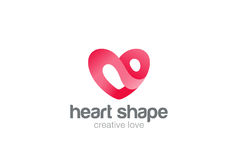 Heart Logo design vector template. St. Valentine day of love symbol.Cardiology Medical Health care Logotype concept icon. Royalty Free Stock Photos