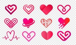 Heart logo vector abstract creative icons set vector illustration