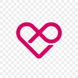 Heart logo vector infinity loop icon. Isolated modern heart symbol for cardiology medical center or charity, Valentine love or wedding greeting card fashion vector illustration