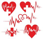 Heart Logos with the cardiogram. Stock Photos