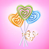 Heart lollipop candies vector illustration. Royalty Free Stock Photos