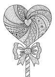 Heart lollipop line art design for coloring book for adult, T- shirt design and other decorations - stock  Royalty Free Stock Photos