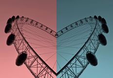 The heart of London: London Eye. London Eye in two colors Royalty Free Stock Photo