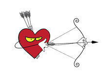 Heart is a lonely hunter. Vector cartoon heart attack. Vector illustration of heart, Valentines Day Stock Photography
