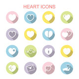 Heart long shadow icons Royalty Free Stock Photography