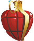 Heart looks like grenade. It's a symbol of love. Stock Photos