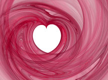 Heart of love. Valentines abstract heart shape, pink swirl over white Royalty Free Stock Images