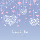 Heart love. Pattern background on the delicate ribbons of a heart Royalty Free Stock Image
