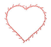 Heart of Love. Words love written with red ink, arranged in the shape of a heart stock illustration