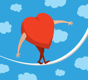 Heart or love in balance walking on a string. Cartoon illustration of heart or love portfolio balancing on a string Stock Image