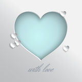 Heart with love. Blue heart vector illustration on white background for valentines day or women day greeting card, paper cut out art style. Caption with love stock illustration