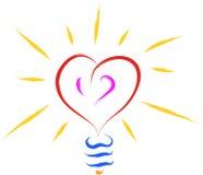 Heart love bulb Stock Photos