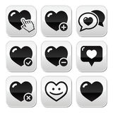 Heart, love  buttons set Stock Image