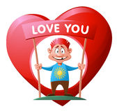 Heart. Love. Cheerful man with a big heart who loves you. Cartoon styled vector illustration. Elements is grouped and divided into layers for easy edit. No Stock Image