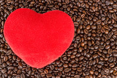 Heart love on coffee beans Stock Images