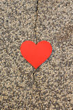 Heart love. On concrete broken Stock Photos
