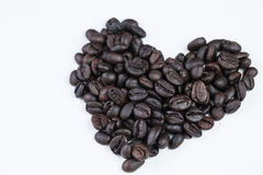 Heart of love with  cup coffee. On the white background Royalty Free Stock Images