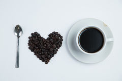Heart of love with  cup coffee. On the white background Stock Photo