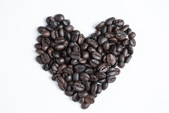 Heart of love with  cup coffee. On the white background Stock Photography