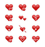 Heart love emoji, emoticons vector set stock illustration