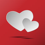 Heart of love .eps10. White heart on a Red background Stock Photos
