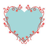 Heart love with flowers card icon Royalty Free Stock Images