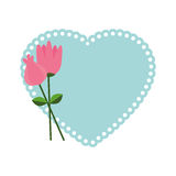 Heart love with flowers card icon Royalty Free Stock Photo