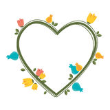 Heart love with flowers card icon Royalty Free Stock Image